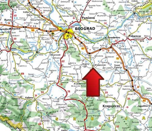selters-banja-mladenovac-mapa