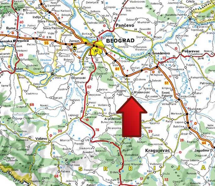 mapa srbije auto. Mladenovac na mapi Srbije